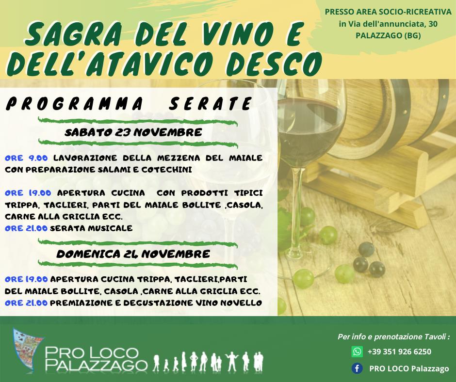 Sagra del Vino e dell'Atavico Desco - Palazzago 23 24 Novembre 2019